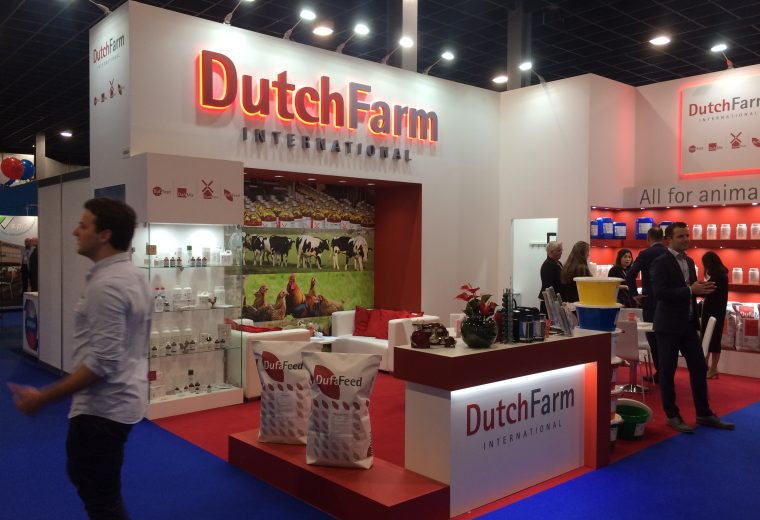 Bespoke exhibition stand design and build for Dutch Farm International at VIV Europe 2018 Jaarbeurs Utrecht, The Netherlands