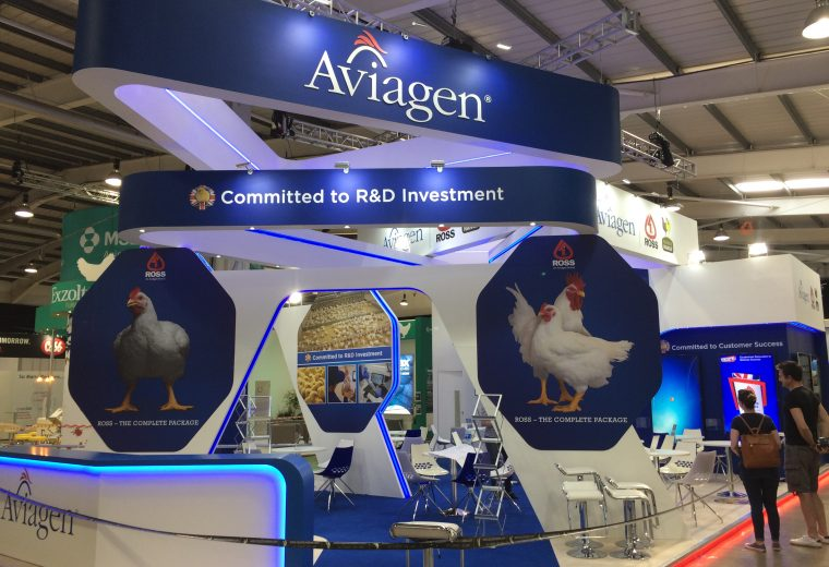 Bespoke exhibition stand for Aviagen at the Pig & Poultry Fair - NAEC Stoneleigh, Warwickshire UK