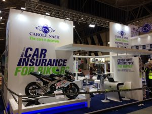 Custom built tradeshow stand at the NEC Birmingham UK for Carole Nash, Motorcycle Live 2017