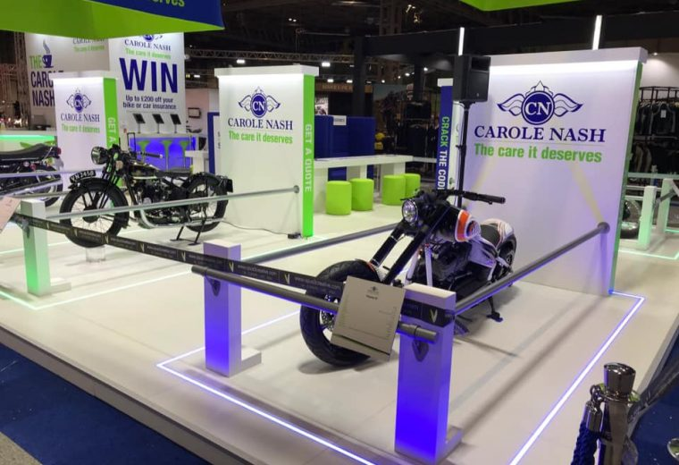 Bespoke exhibition stand for Carole Nash at Motorcycle Live NEC