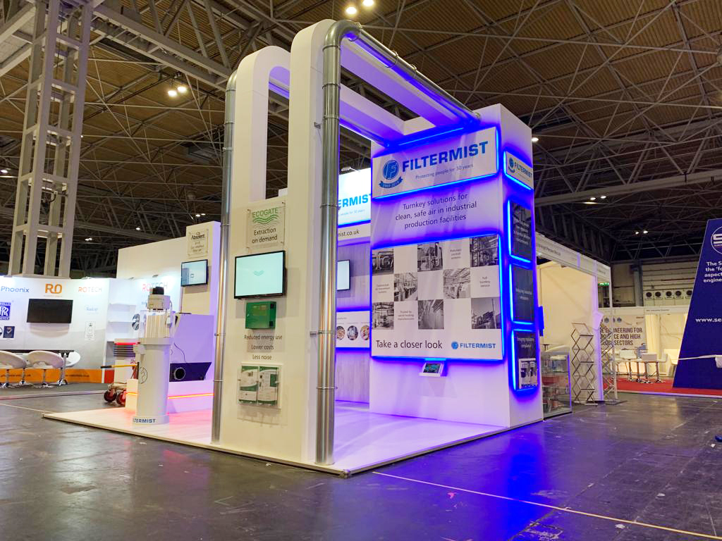 Bespoke exhibition stand for Filtermist at Advanced Engineering NEC
