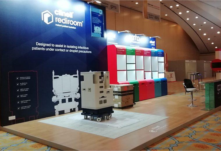 Bespoke exhibition stand for Gamma Healthcare at IPC KSA in Riyadh Saudi Arabia