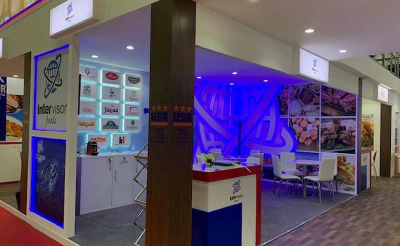 Bespoke exhibition stand for Intervision at Gulfood DWTC