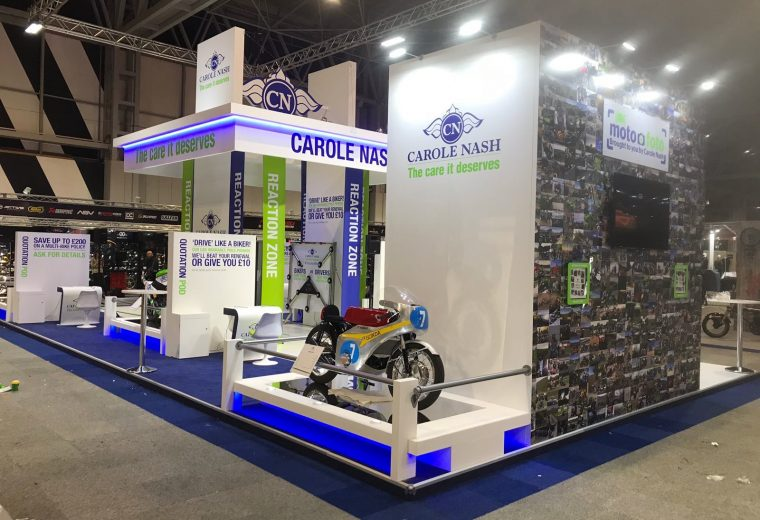 Bespoke exhibition stand at Motorcycle Live NEC Birmingham UK