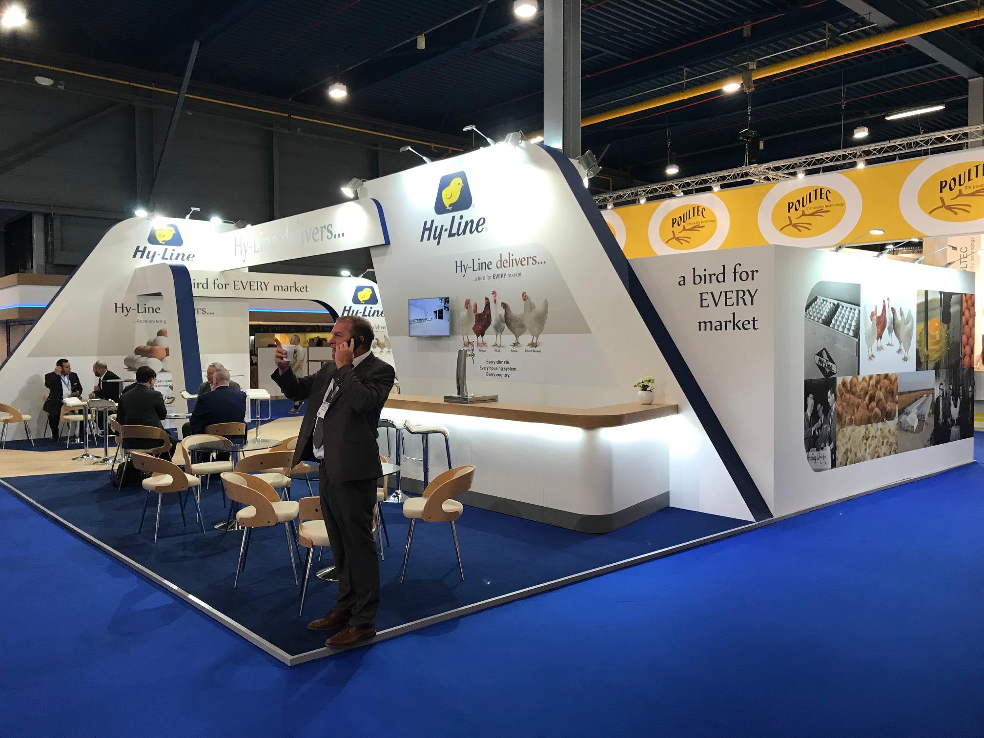 Custom built exhibition stand for Hy-Line at VIV Europe 2018 Jaarbeurs Utrecht, The Netherlands