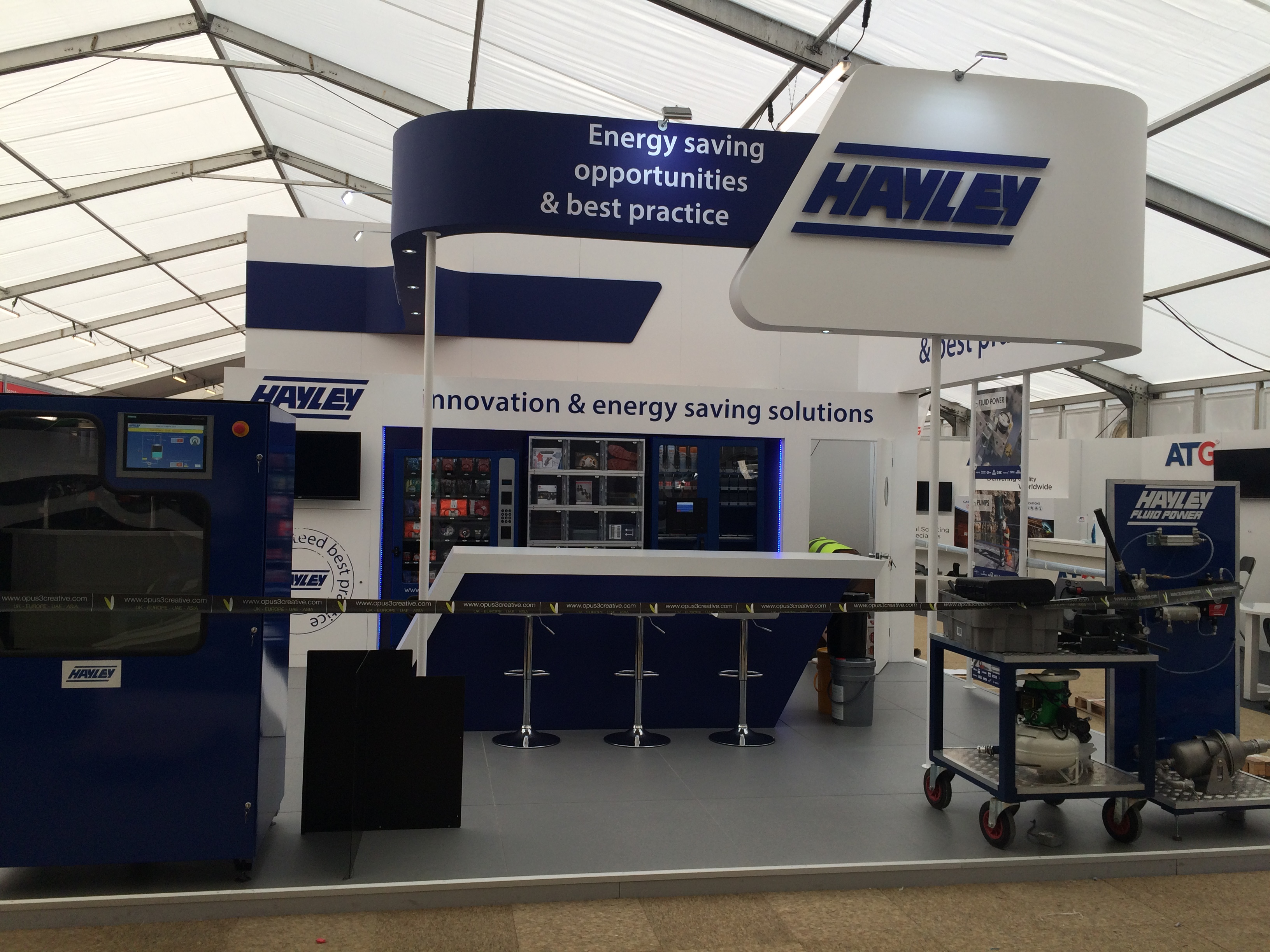 Bespoke exhibition stand design and build for the Hayley Group at Hillhead Derbyshire, UK