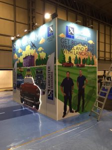 Exhibition stand design and build at NEC Birmingham UK for Lancaster Insurance,Classic Motor Show