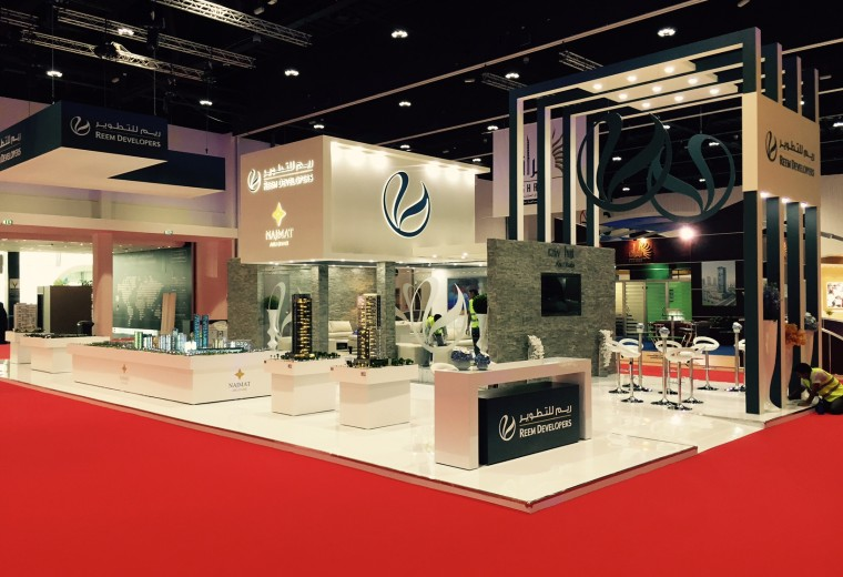 Custom built tradeshow booth designed and built for Reem Developers