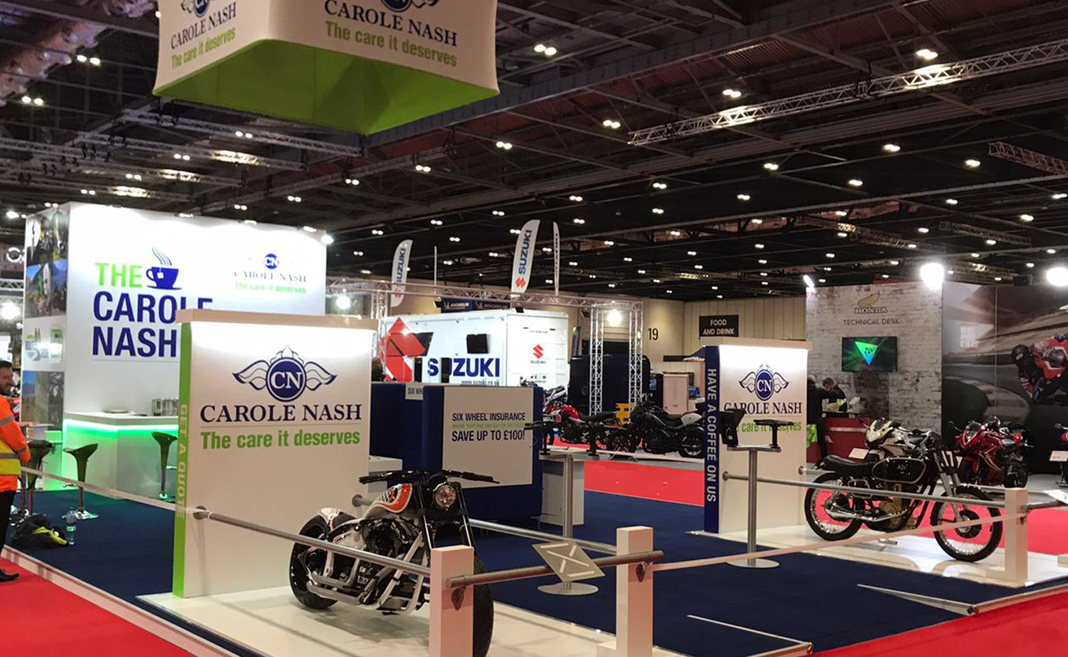 Carole Nash Custom built stand at MCN ExCel London