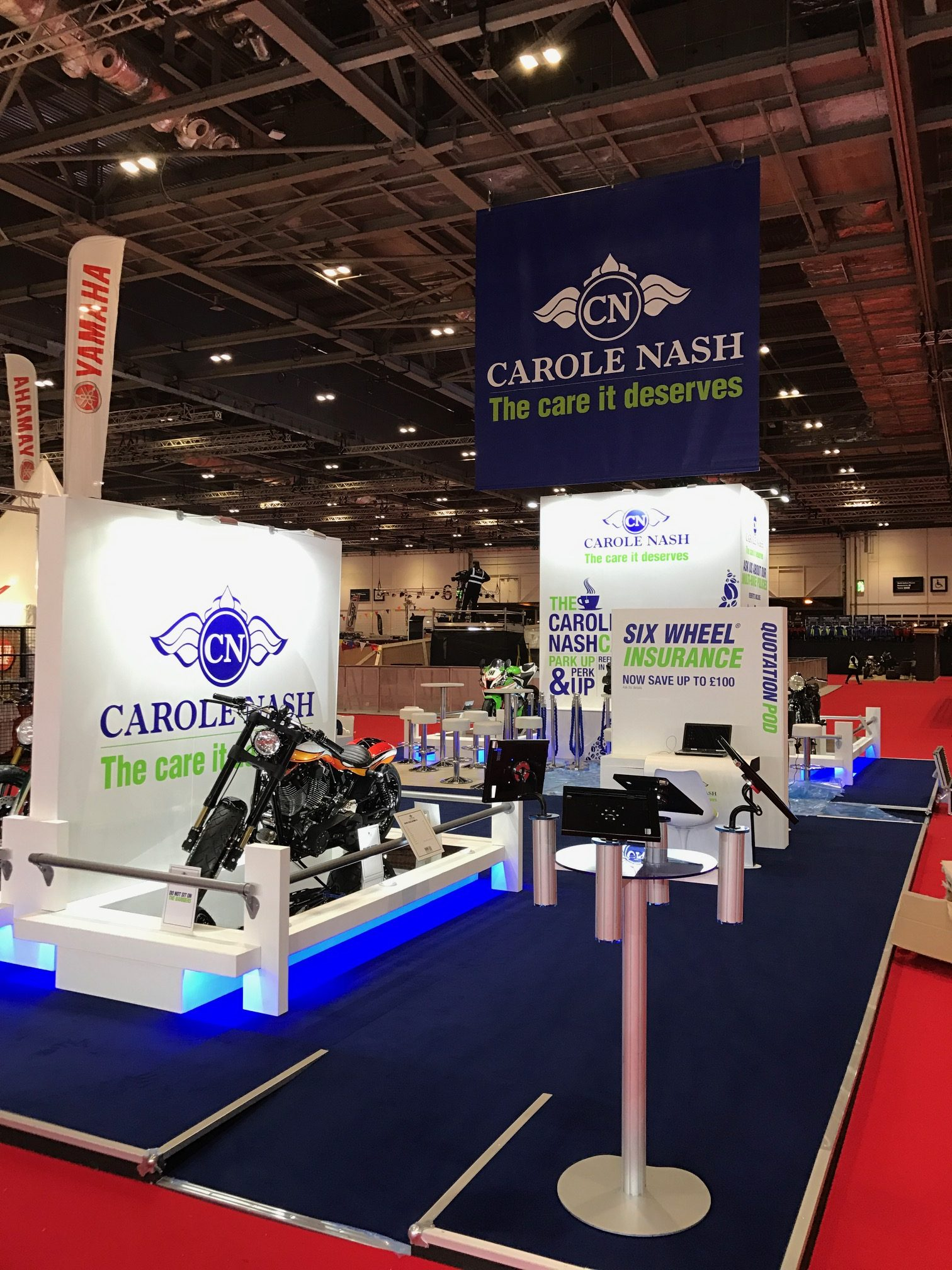 Bespoke exhibition stand for Carole Nash MCN London show, ExCel London, UK.
