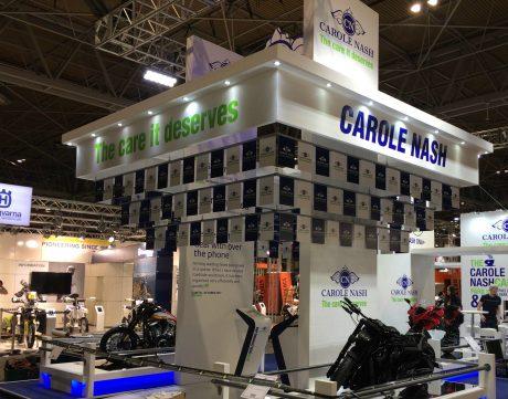Bespoke exhibition stand designed and built for Carole Nash at Motorcycle Live 2017 NEC Birmingham UK