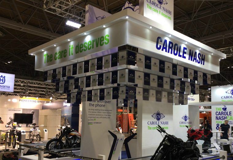 Bespoke exhibition stand designed and built for Carole Nash at Motorcycle Live 2017 NEC Birmingham UK