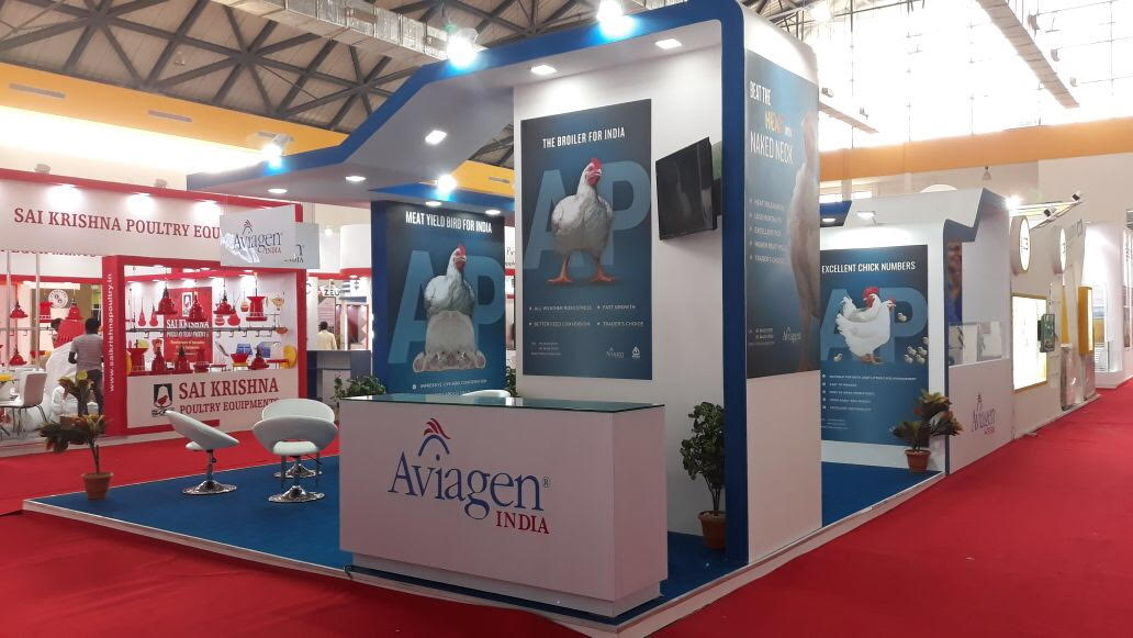 Tradeshow booth project for Aviagen at Poultry India 2017 Hitex Exhibition Centre, Hyderabad