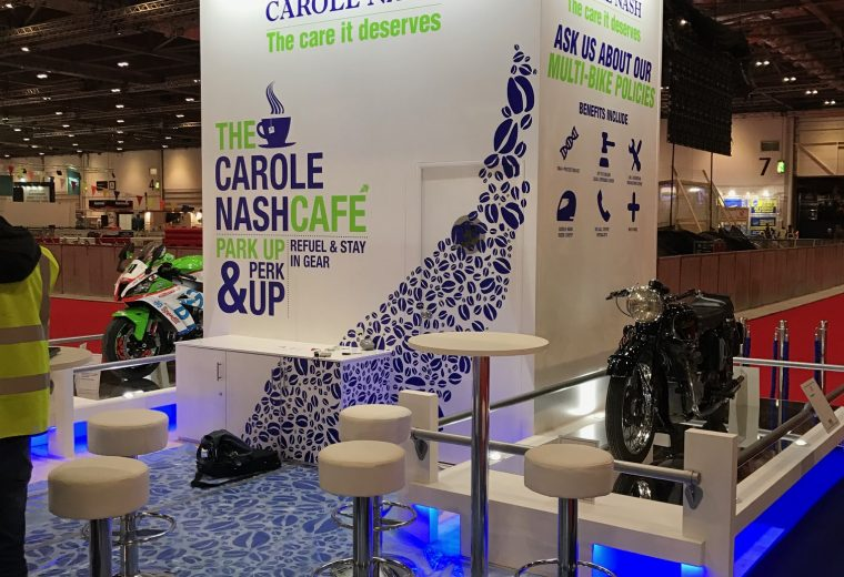 Creative exhibition stand design and build - Carole Nash MCN London, ExCel London, UK