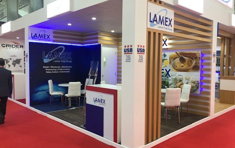 Creative stand design for Lamex in UAE
