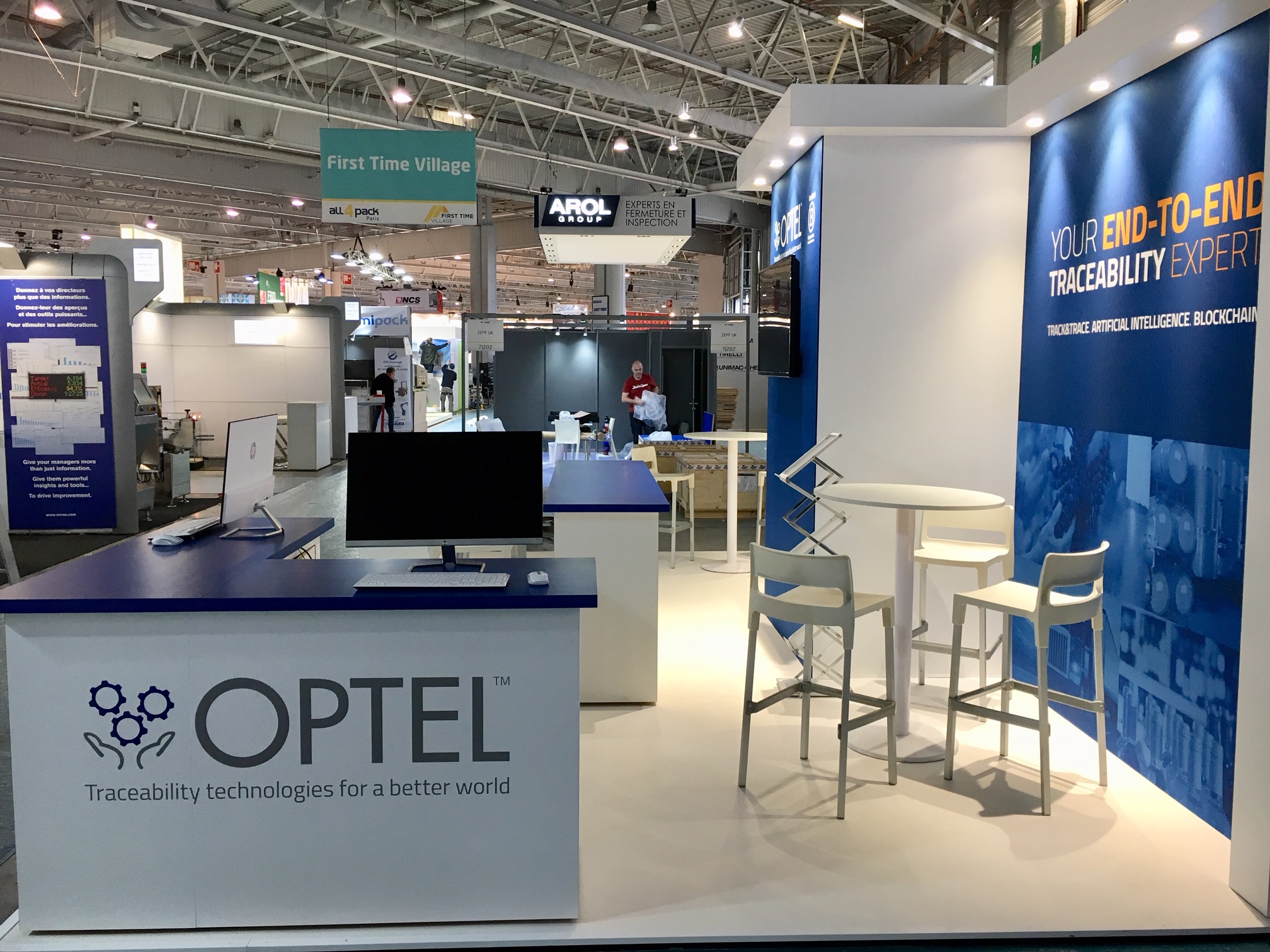 Custom built booth at the Parc des Expoditions Paris Nord Villepine, France for the All4Pack tradeshow