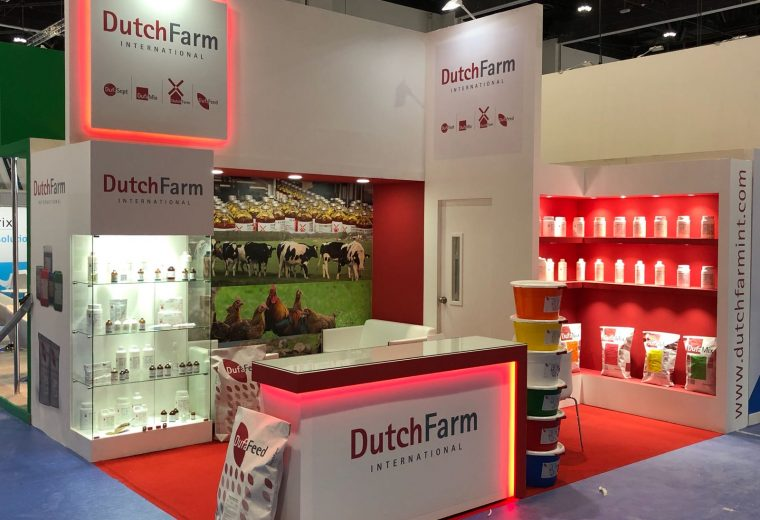 Custom built booth for DutchFarm International at the VIV MEA 2018 Exhibition ADNEC Abu Dhabi UAE