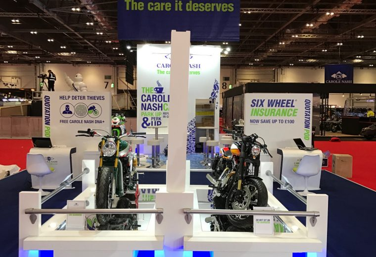 Custom built exhibition stand for Carole Nash MCN London ExCel UK