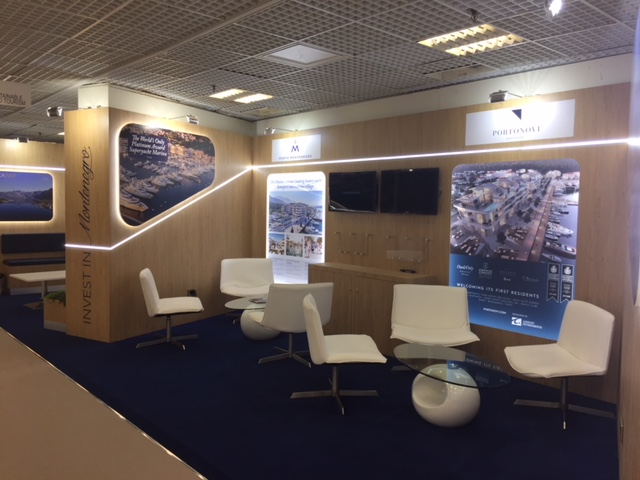 Custom built exhibition stand at MIPIM 2018 - Palais des Fesitvals, Cannes France