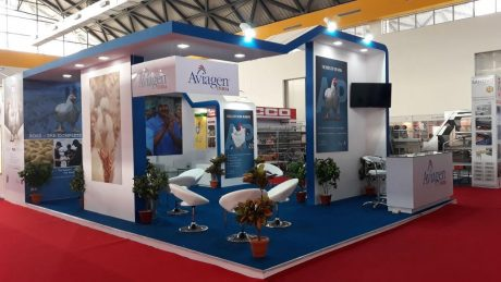 Tradeshow booth creative design for Aviagen at Poultry India 2017 Hitex Exhibition Centre Hyderabad