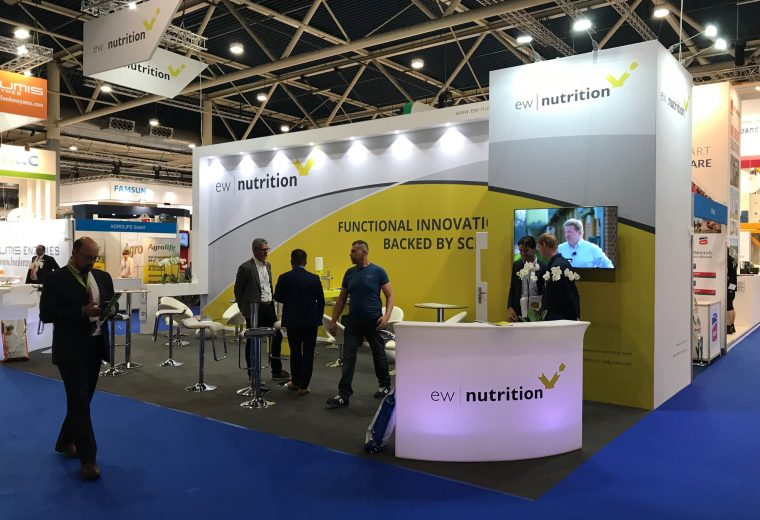 Exhibition booth design and build for EW Nutrition at VIV Europe Jaarbeurs Utrecht, The Netherlands