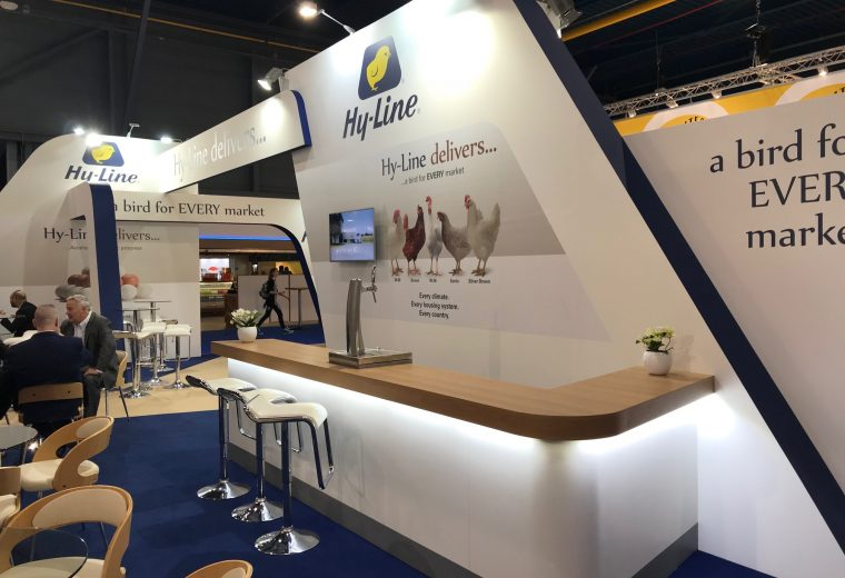 Exhibition booth design and build for Hy-Line at VIV Europe Jaarbeurs Utrecht, The Netherlands