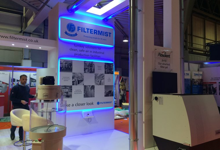 Custom built stand at Contamination Expo Birmingham NEC for Filtermist