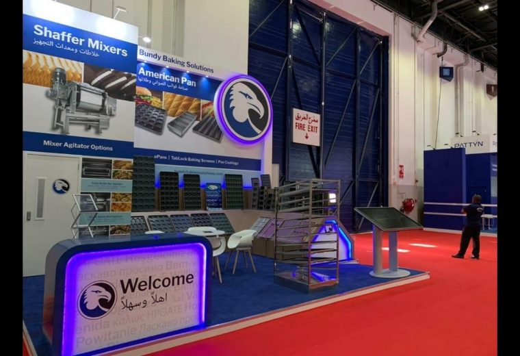 Custom built stand at Gulfood Manufacturing in Dubai UAE for Bundy Shaffer Mixers and American Pan
