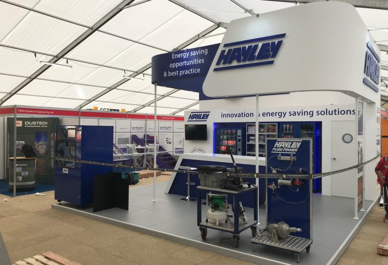 Custom built exhibition stand for Hayley Group at Hillhead Buxton, Derbyshire UK