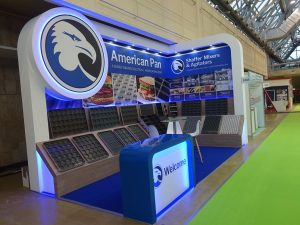 Custom built stand at Modern Bakery in IEC Expocentre Moscow Russia for Bundy American Pan Shaffer Mixer