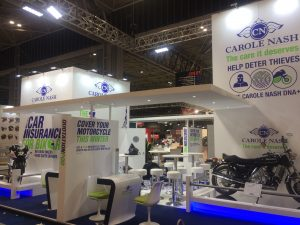 Tradeshow stand designed and built for Carole Nash at Motorcycle Live 2017 NEC Birmingham, UK