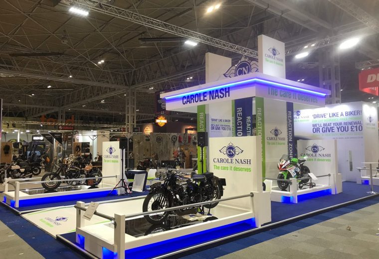 Custom built exhibition stand Motorcycle Live 2018 NEC Birmingham UK