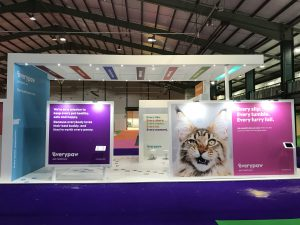 Exhibition stand for Everypaw Pet Insurance Staffordshire County Showground, UK