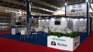 Bespoke exhibition stand for Hy-Line at Hyderabad India - Hitex Exhibition Centre