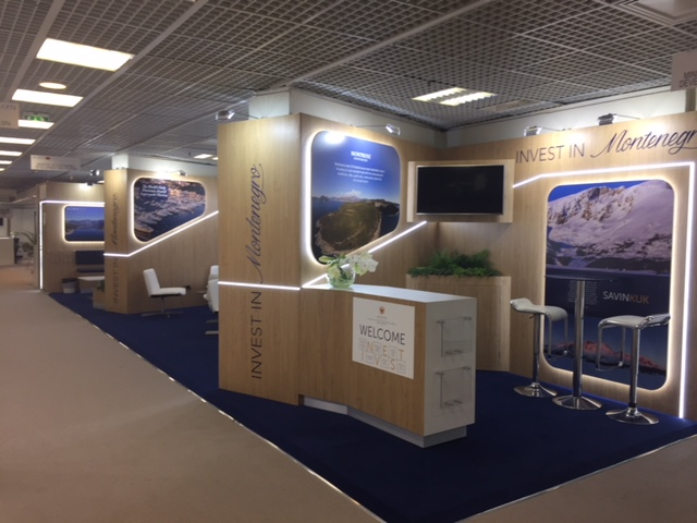 Exhibition booth design and build for Montenegro at MIPIM 2018 Palais des Festivals, Cannes France