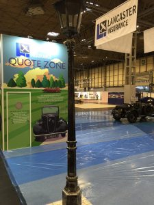 Tradeshow stand for Lancaster Insurance at the NEC Birmingham Classic Motor Show 2017
