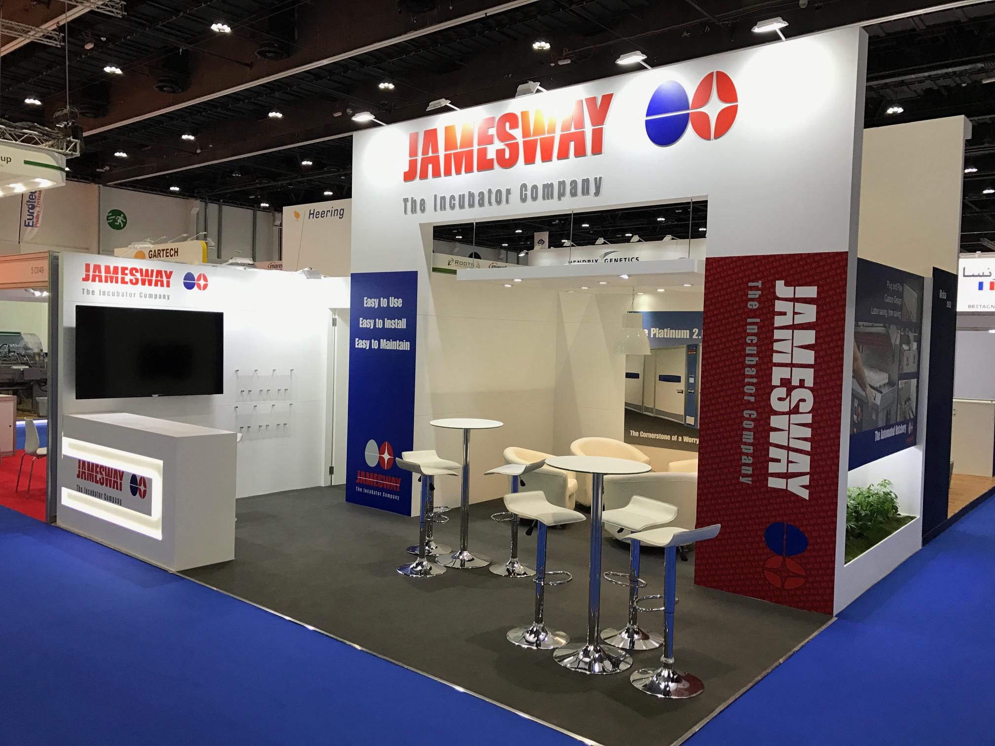 Custom built booth for Jamesway at VIV MEA 2018 ADNEC Abu Dhabi UAE