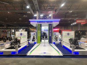 Custom built exhibition stand at Motorcycle Live 2018 NEC Birmingham UK
