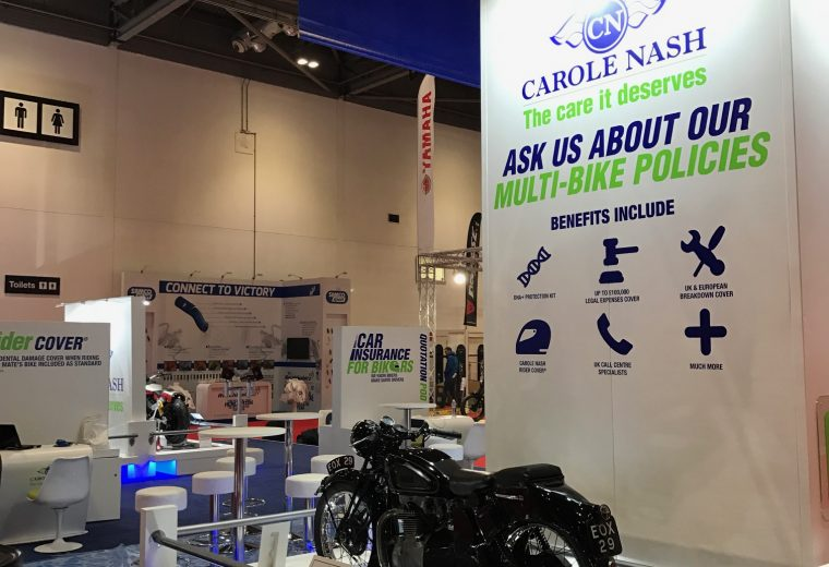 Exhibition stand design and build for Carole Nash MCN London at ExCel London, UK
