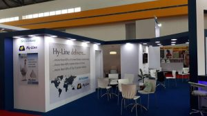 Custom built tradeshow stand for Hy-Line at Poultry India 2017 Hitex Exhibition Centre Hyderabad, India