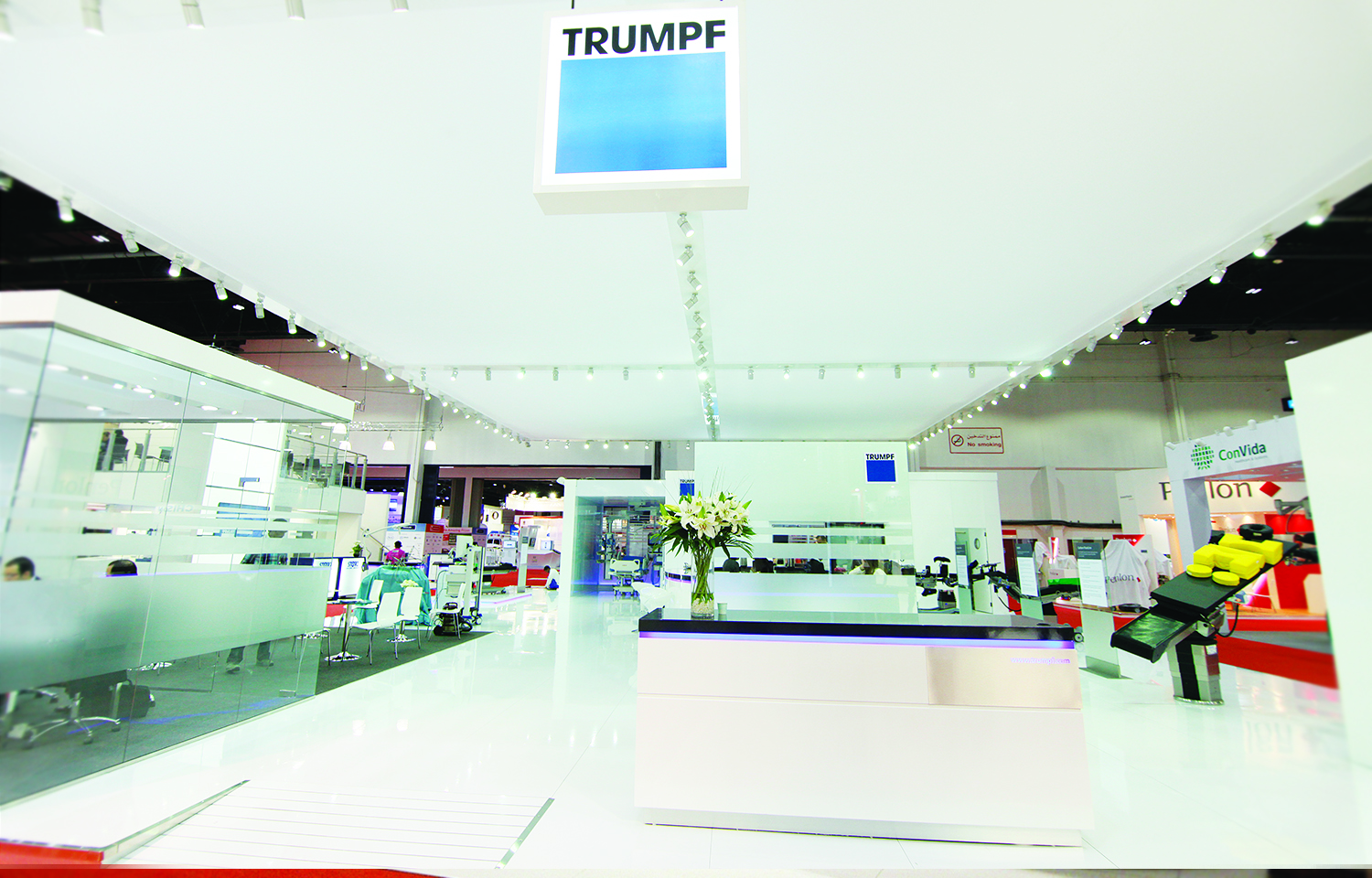 Exhibition stand design and build at Dubai World Trade Centre for at Trumpf Medical Arab Health 2014
