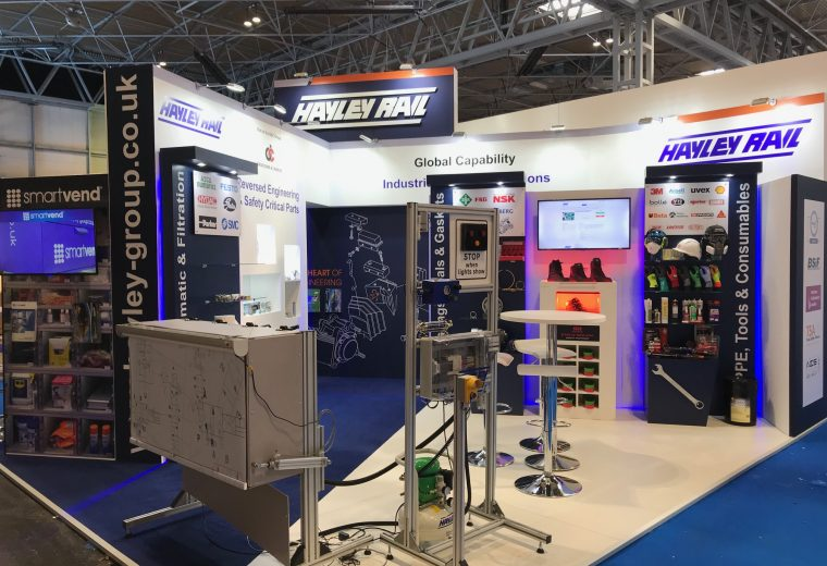 Hayley Rail Custom built stand at Railtex in Birmingham UK