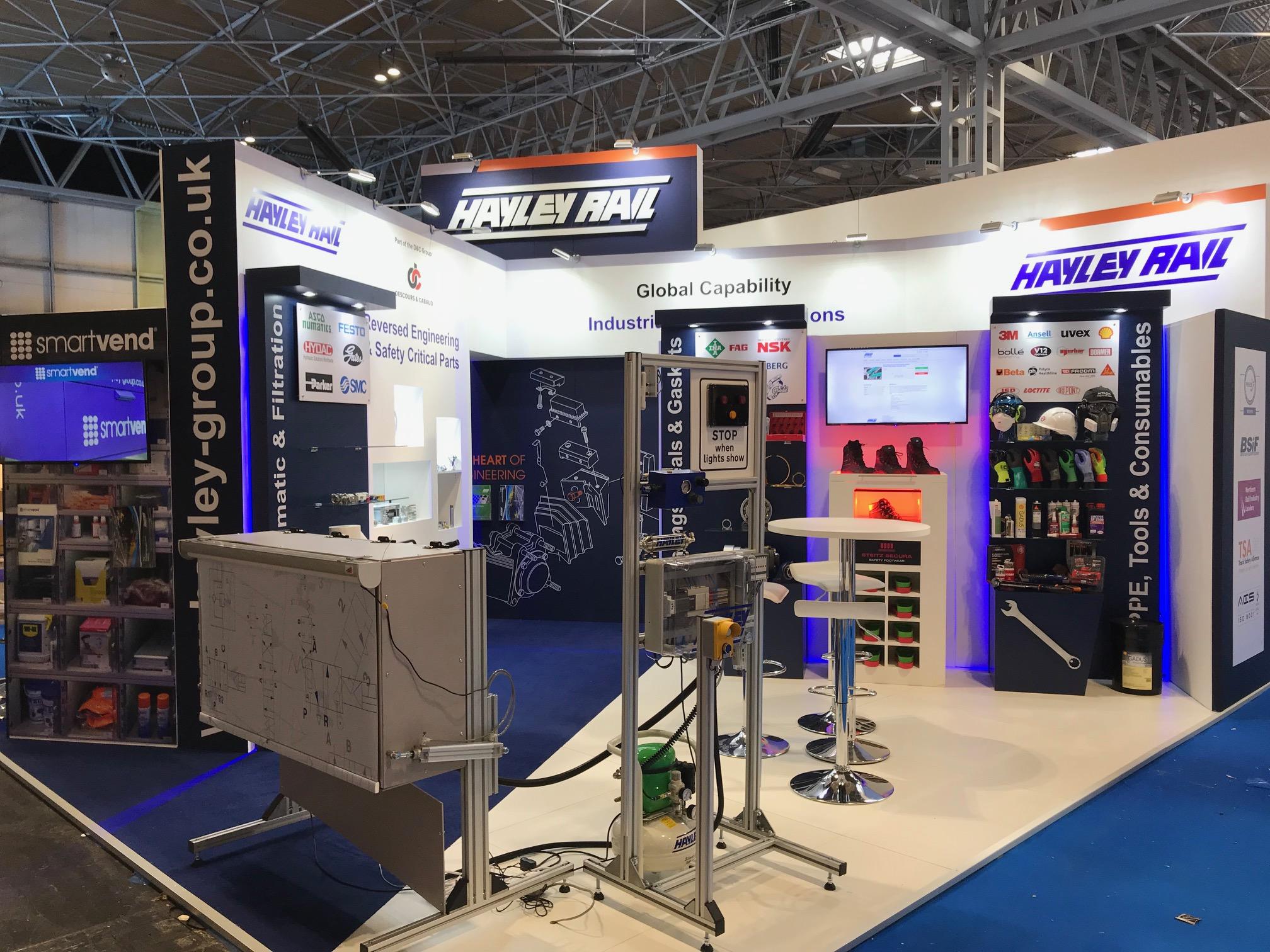 Hayley Rail Custom built stand at Railtex in Birmingham UK