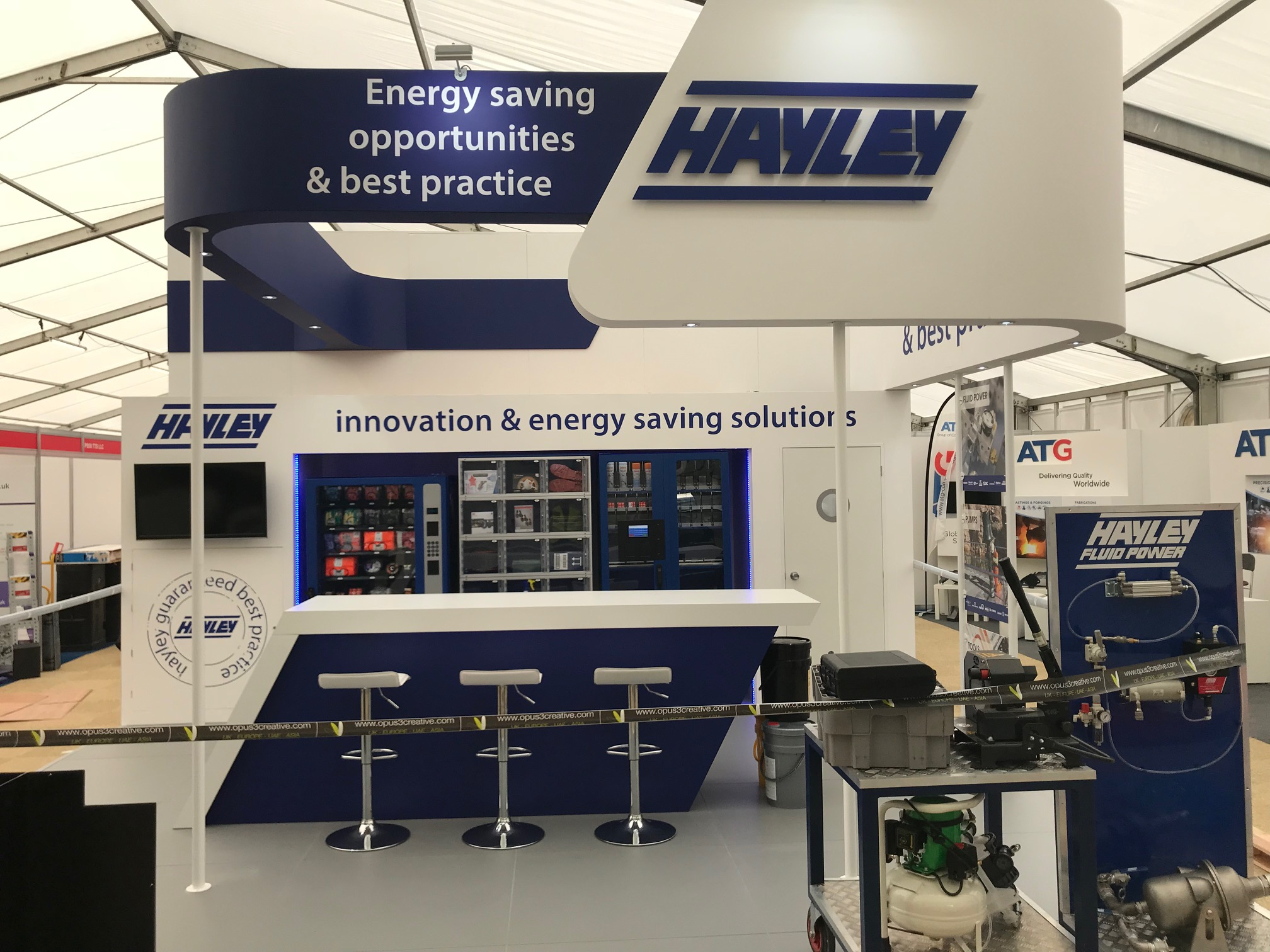Exhibition stand design and build at Hillhead Quarry - Buxton, Derbyshire UK