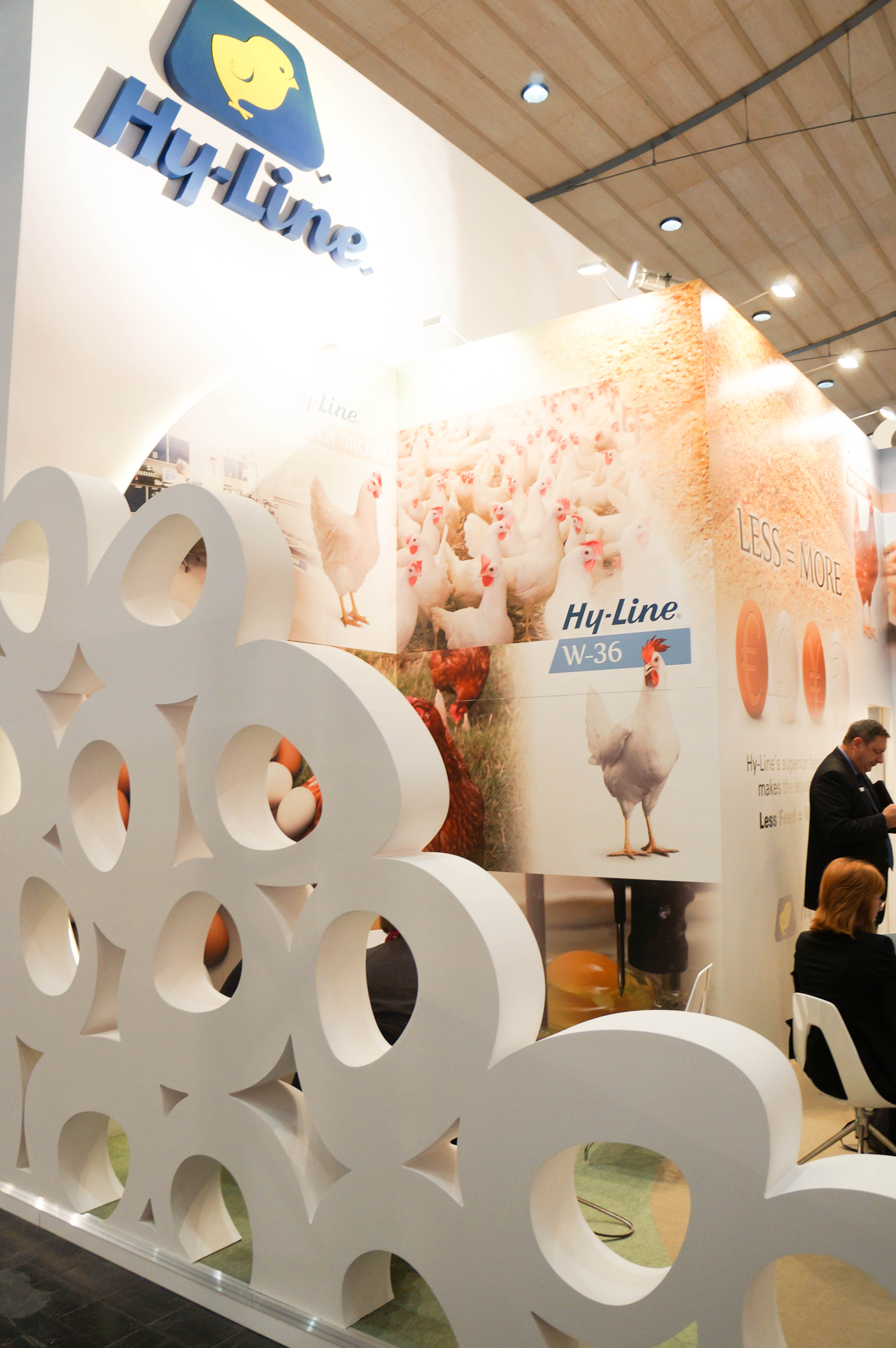 """""""Left egg wall on Hy-Line exhibition stand"""""""