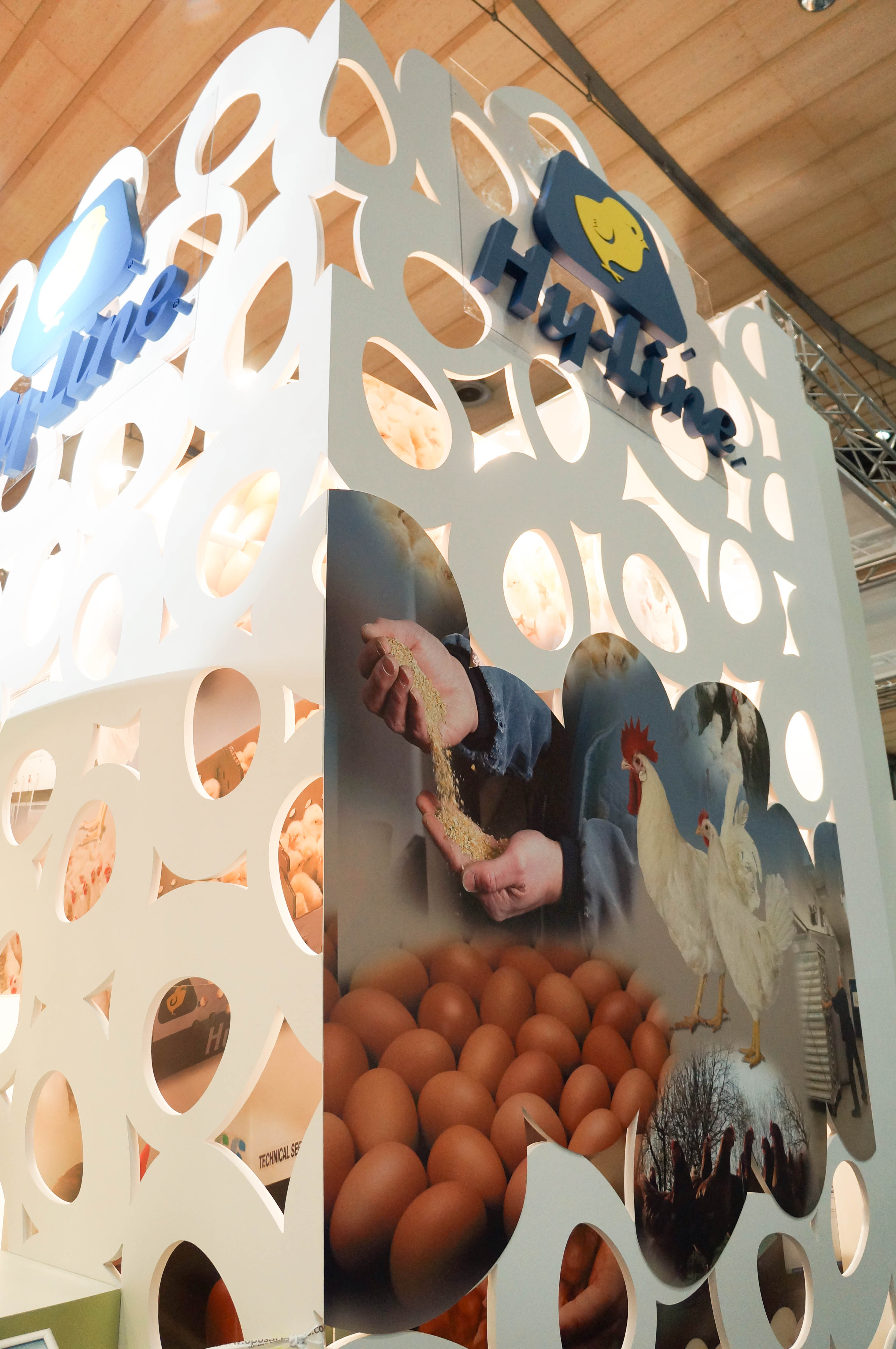 """""""Egg wall around stores on Hy-Line exhibition stand"""""""