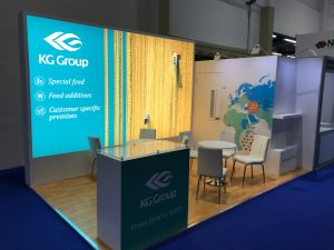 Exhibition stand design and build for the KG Group VIV MEA 2018 ADNEC Abu Dhabi UAE
