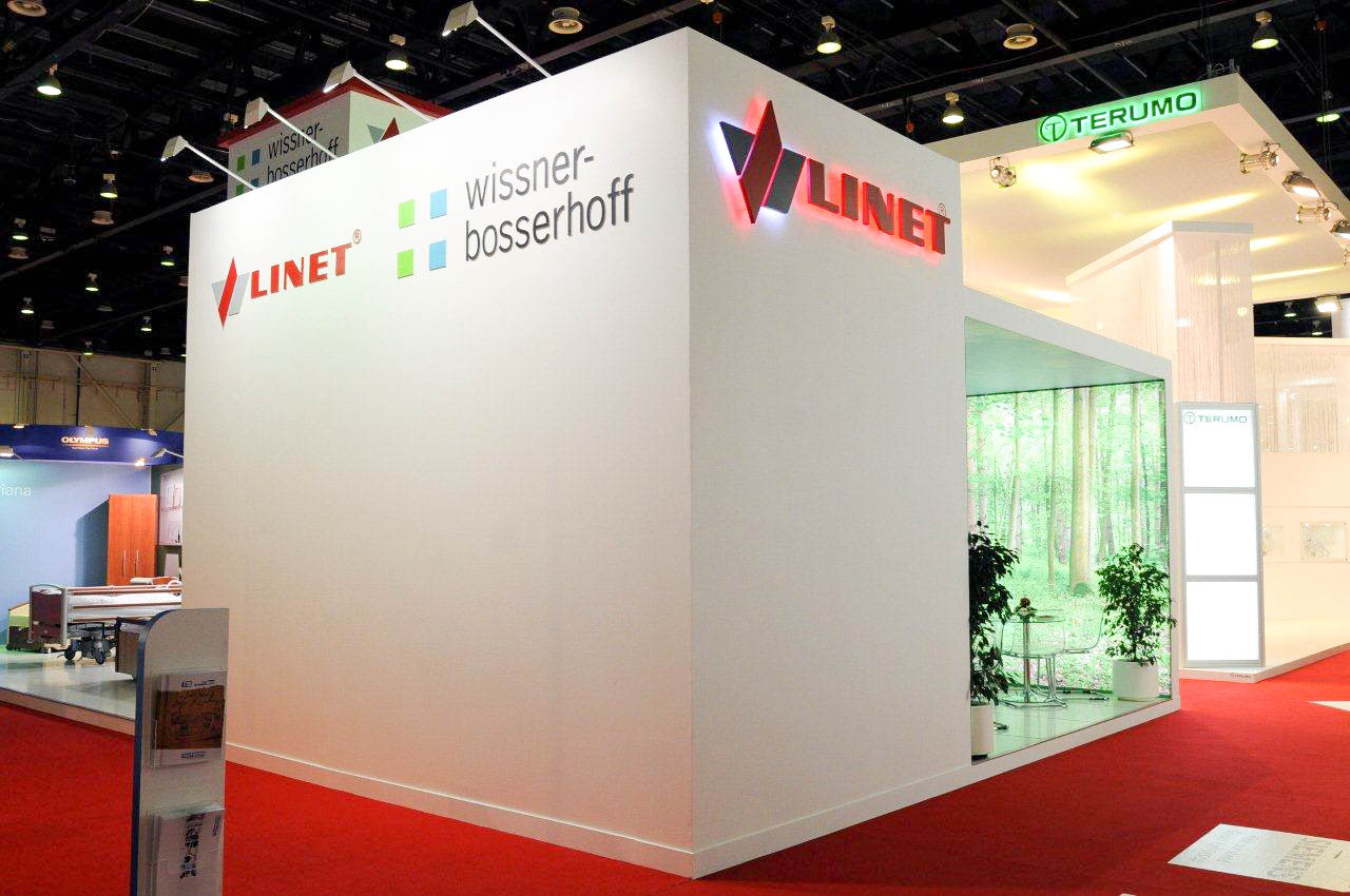 """""""Corner view of Linet custom exhibition stand"""""""