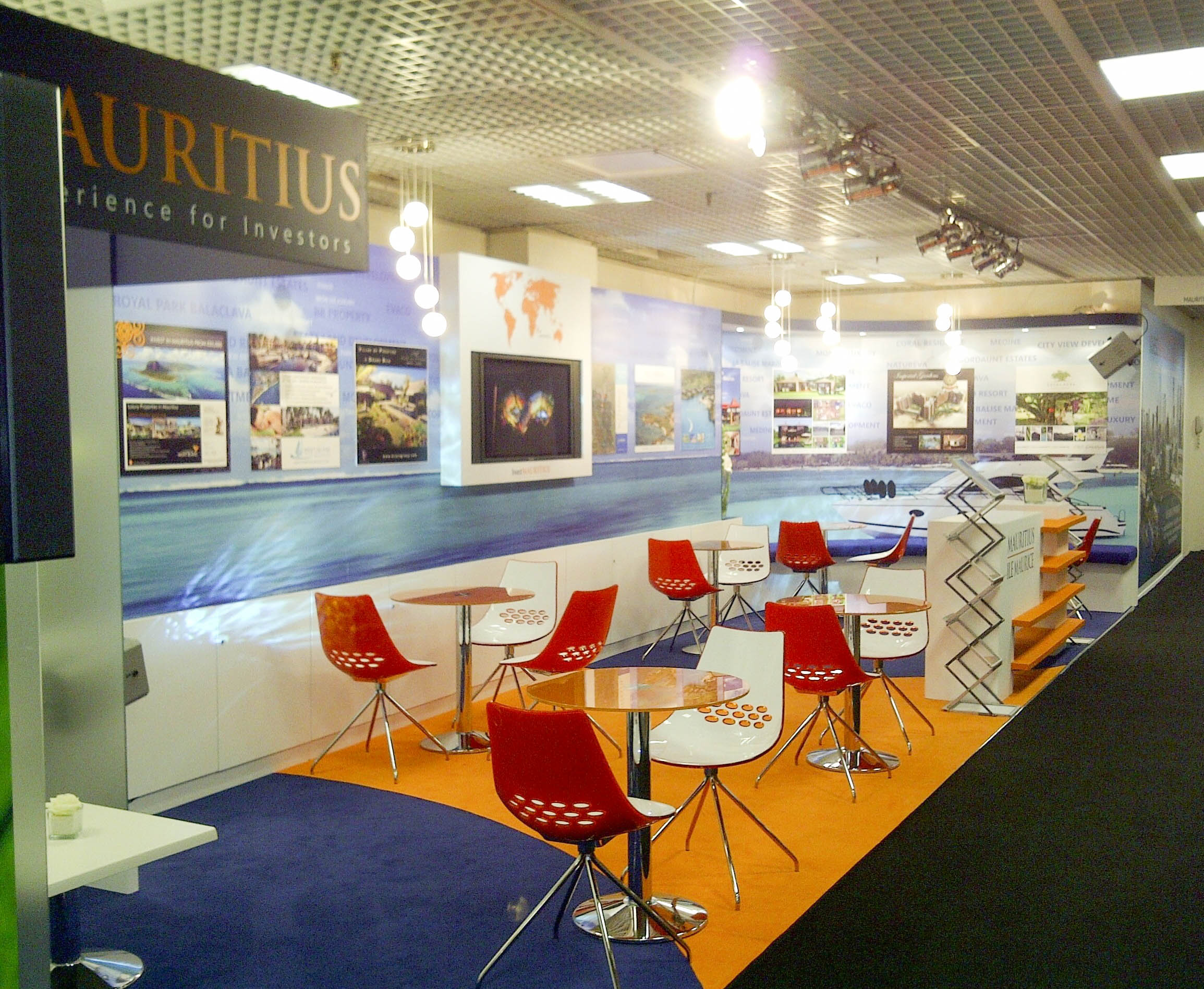 """""""Angled view of Mauritius custom exhibition stand at MIPIM"""""""