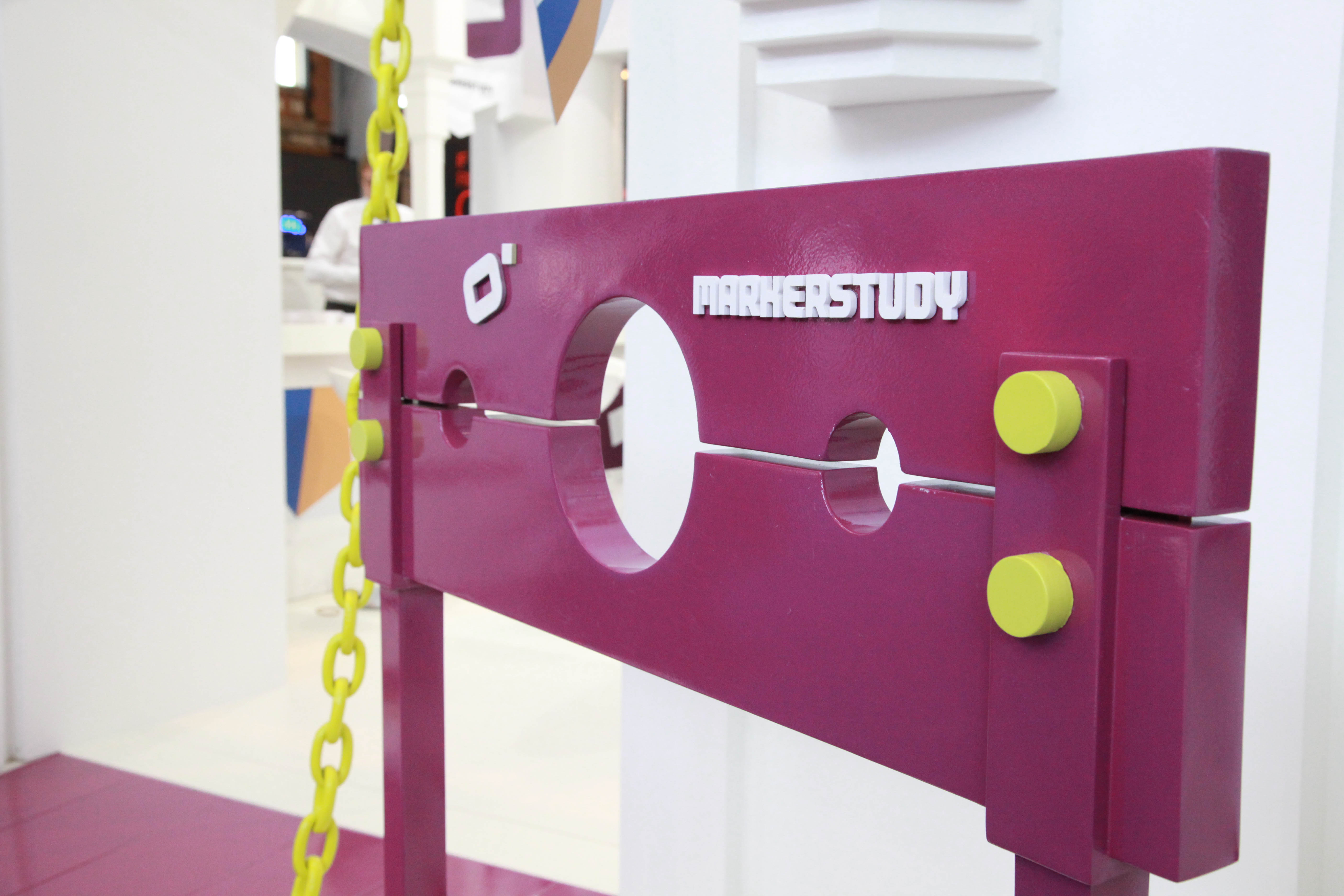 """""""Gallows on custom exhibition stand for Marker Study at BIBA 2012"""""""